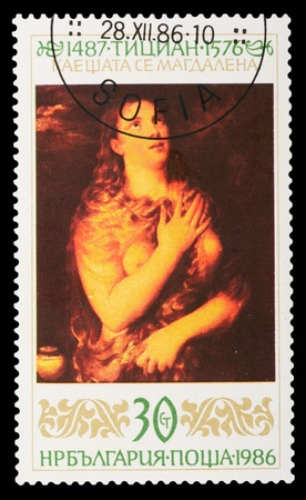 magyar posta: BULGARIA - CIRCA 1986: A stamp printed in Bulgaria shows the painting Magdalen by Titian, circa 1986
