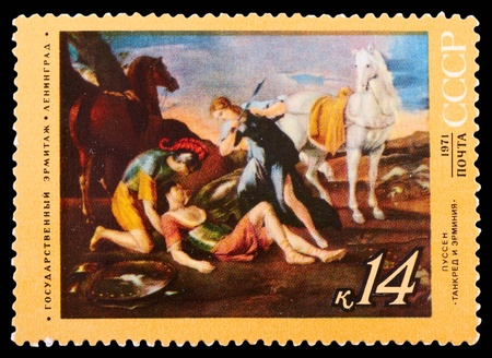 USSR - CIRCA 1971: A Stamp printed in USSR shows the Tancred and Arminia, by Nicolas Poussin (1594-1665), from the series Foreign master works in Russian museums, circa 1971