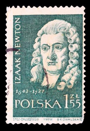 POLAND - CIRCA 1959: A stamp printed in Poland shows Isaac Newton, series, circa 1959