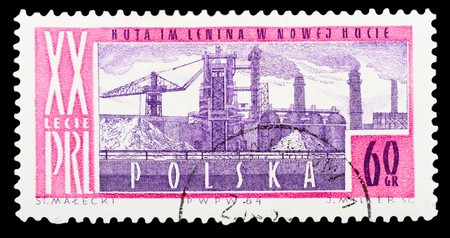 POLAND - CIRCA 1964: A stamp printed in Poland shows a Metallurgical plant in Nova Huta with the same inscription, from the series 20 Anniversary of Peoples Republic of Poland, circa 1964
