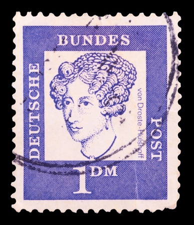 east of germany: GDR - CIRCA 1952: A Stamp printed in GDR (German Democratic Republic - East Germany) shows GDRs national coat of arms with inscription Service Stamp, series GDRs national coat of arms, circa 1952 Editorial