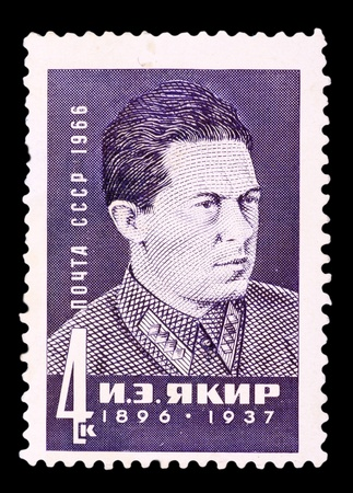 USSR - CIRCA 1966: A stamp printed in the USSR, shows I.E.Yakir (1896-1937), circa 1966