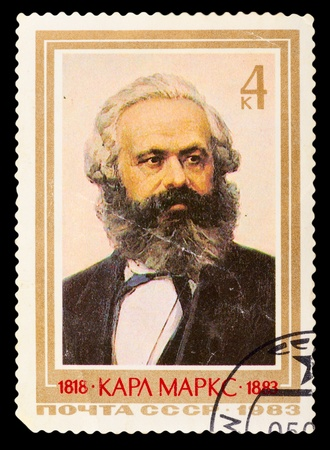 political economist: USSR - CIRCA 1983: A stamp printed in USSR, shows portrait Karl Marx (1818-1883), circa 1983