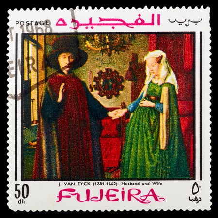 FUJEIRA - CIRCA 1972: A stamp printed in Fujeira showing art - painting, circa 1972 Stock Photo - 12547471