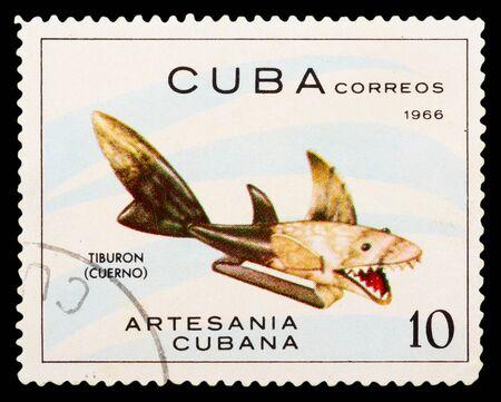 "philatelic: CUBA - CIRCA 1966: A Stamp printed in Cuba shows image of a horn shark with the inscription Tiburon (cuerno)"" from the series ARTESANIA CUBANA, circa 1966"