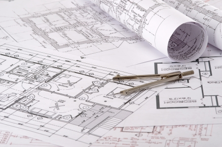 blue prints: close up of a plan on a construction drawing