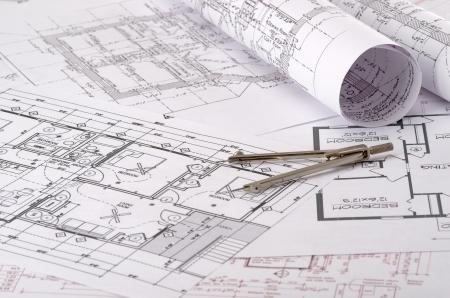 baustellen: Nahaufnahme von einem Plan auf einer Konstruktionszeichnung
