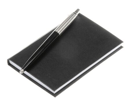 Leather notebook and pen isolated on the white background 版權商用圖片
