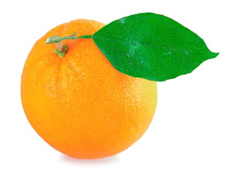 Fresh orange with green leaf isolated on a white background Stock Photo - 12551126