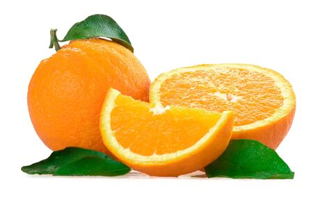 Fresh oranges with green leaf isolated on a white background photo