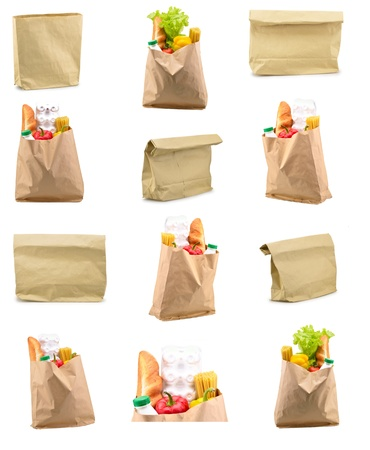 Set of a paper bag with food isolated on a white background photo