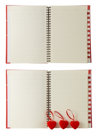 Collage of photos with hearts and diary isolated on a white  background  Valentines day photo
