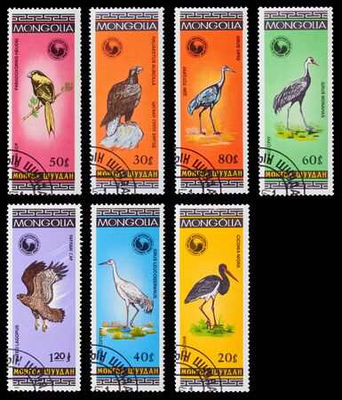 MONGOLIA - CIRCA 1985  A set of postage stamps printed in MONGOLIA shows birds, series, circa 1985
