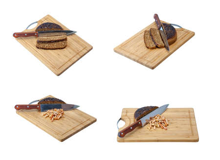 Set of a slices of bread on the cutting board isolated on a white background photo