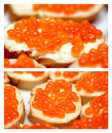 Set of a sandwiches with red caviar isolated on a white background photo
