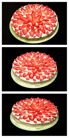Set of a cake with fresh strawberries on a black background photo
