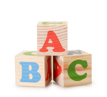 The wooden alphabet blocks isolated on a white background photo