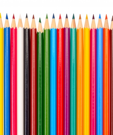 The colored pencils isolated on a white background