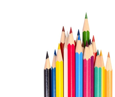 The colored pencils on a background