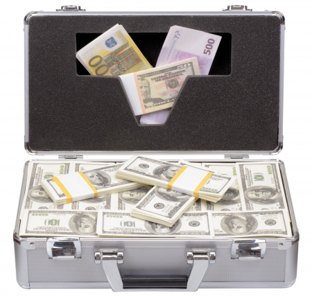 The metal case with dollars and euros isolated on a white background photo