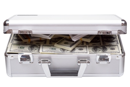The metal case with dollars and euros isolated on a white background 版權商用圖片