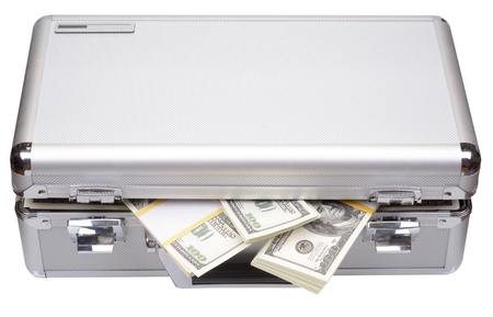 The metal case with dollars and euros isolated on a white background Foto de archivo