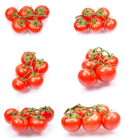 Set of a fresh juicy tomatoes isolated on a white background photo