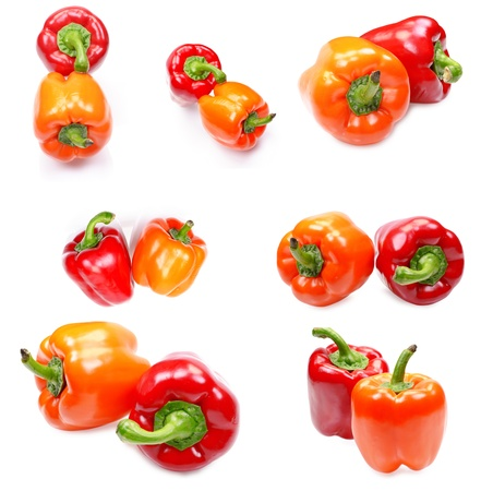 Set of a fresh juicy peppers isolated on a white background photo