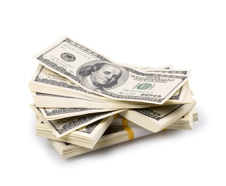packs of dollars isolated on a white background photo