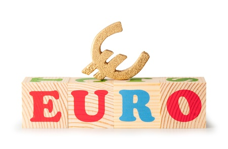 alphabet wood blocks forming the word Euro isolated on a white background photo