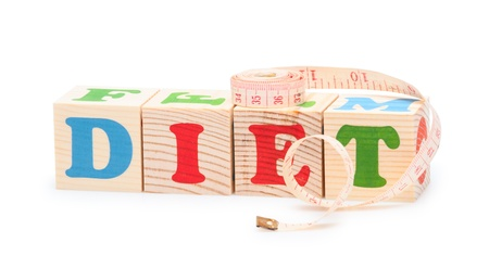 alphabet wood blocks forming the word Diet isolated on a white background photo