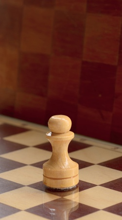 wooden chess pieces on a chessboard background photo