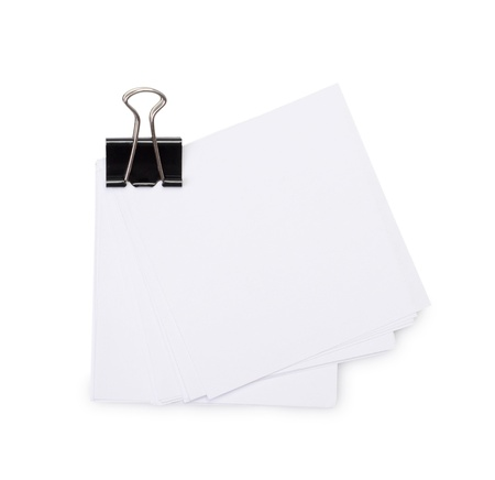 White paper sheets for letter with clip isolated on a white background