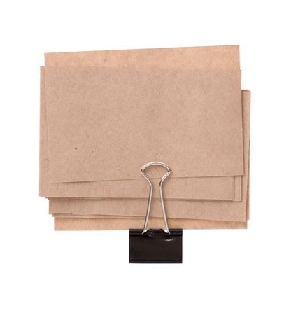 Old Paper sheets for letter with clip isolated on a white background