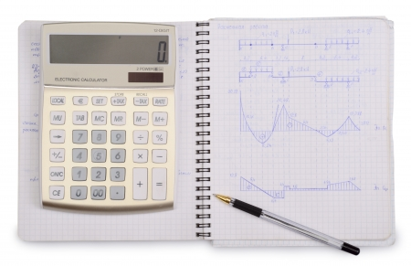 notebook with calculator and pen isolated on a white background