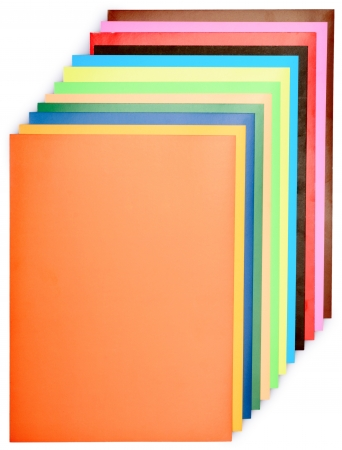 stack of colored paper for creative work isolated on a white background Stock Photo
