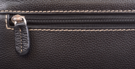 Dark brown leather texture and zipper background Stock Photo - 20217526