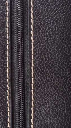 Dark brown leather texture and zipper background Stock Photo - 20217478
