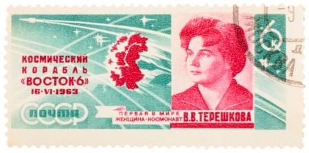 tereshkova: URSS - CIRCA 1963: Un francobollo stampato in URSS, mostra un ritratto Tereshkova con iscrizione prima donna cosmonauta, circa 1963
