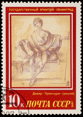 albrecht: USSR - CIRCA 1987: A stamp printed in the USSR, shows a painting artist Albrecht Durer Justice, circa 1987