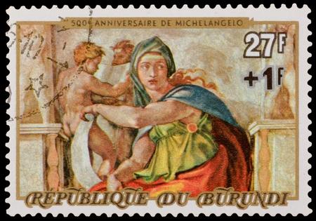 BURUNDI - CIRCA 1975: A stamp printed in the BURUNDI, shows Michelangelo Buonarroti fragment, 500 years anniversary, circa 1975 新聞圖片