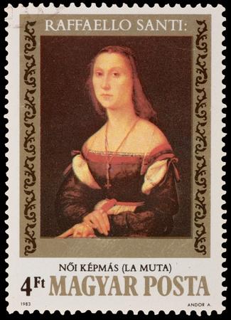 brash: HUNGARY - CIRCA 1983: A stamp printed in the HUNGARY, shows La Muta Raffaello Santi, circa 1983