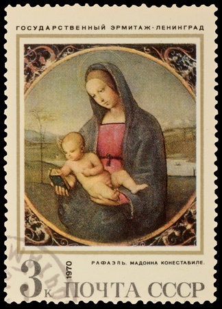 albrecht: USSR - CIRCA 1970: A stamp printed in the USSR, shows a painting Conestabile Madonna by Raphael, circa 1970 Editorial