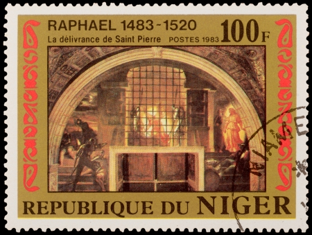 deliverance: NIGER - CIRCA 1983: A stamp printed in the NIGER, shows draw by Raphael Deliverance of Saint Peter, circa 1983