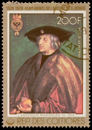 comores: COMORES - CIRCA 1978: A stamp printed in the COMORES, shows painting by Dürer, circa 1978
