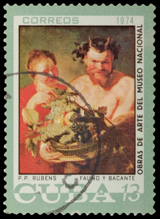 CUBA - CIRCA 1974: A stamp printed in the CUBA, shows painting by Rubens, circa 1974