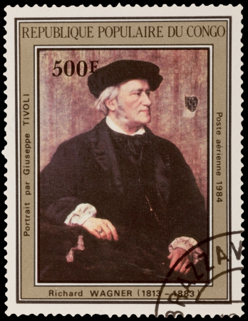 richard: CONGO - CIRCA 1984: A stamp printed in the CONGO, shows draw by artist Richard Wagner - Portrait of Giuseppe Tivol, circa 1984