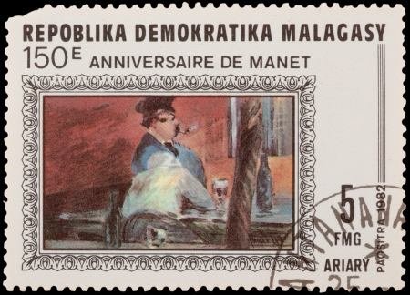 monet: MALAGASY - CIRCA 1982: A stamp printed in the MALAGASY, shows painting by Monet, circa 1982 Editorial