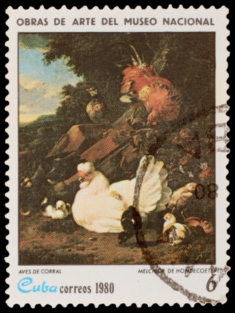 melchior: CUBA - CIRCA 1980: A stamp printed in the CUBA, shows Domestic Fowl, by Melchior De Hondecoeter, circa 1980 Editorial