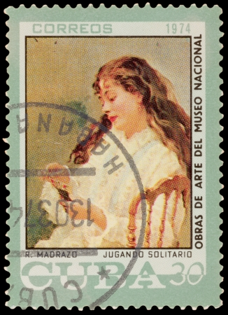 CUBA - CIRCA 1974: A stamp printed in the CUBA, shows painting by Madrazo, circa 1974